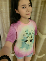 Hipa product tie-dyeing short-sleeve tee female HARAJUKU gradient o-neck t-shirt