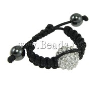 Free shipping!!!Shamballa Finger Ring,Famous Jewelry, Zinc Alloy, with Wax Cord, handmade, with rhinestone, nickel