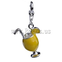 Free shipping!!!Zinc Alloy Lobster Clasp Charm,Lucky Jewelry, Cup, enamel, yellow, nickel, lead & cadmium free, 35x16.50x9.50mm