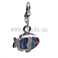 Free shipping!!!Zinc Alloy Lobster Clasp Charm,Wholesale Lot, Fish, enamel, multi-colored, nickel, lead & cadmium free