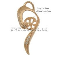 Free shipping!!!Brass Peg Bail,wedding jewellery, rose gold color plated, with rhinestone, nickel, lead & cadmium free