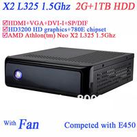 Car pc slim computers 2G RAM 1TB HDD secc chassis HDD HDMI VGA DVI AMD Athlon tm Neo X2 L325 1.5Ghz HD3200 graphic 780E