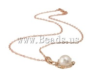 Free shipping!!!Freshwater Pearl Brass Chain Necklace,australian, Cultured Freshwater Pearl, with Rhinestone & Brass, Round