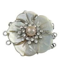 Free shipping!!!Shell Box Clasp,Punk Style, with Cultured Freshwater Nucleated Pearl & Brass, Flower, 3-strand, 33.50x37x12mm