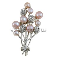 Free shipping!!!Freshwater Pearl Brooch,Vintage, Cultured Freshwater Pearl, with Brass, Flower, pink, 41x63x15mm, Sold By PC