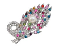 Free shipping!!!Rhinestone Brooch,ethnic, Peacock, with rhinestone, mixed colors, 40x72x19mm, Sold By PC