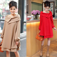 Spring and autumn and winter 2014 New fashion ladies loose dress was thin thick layering flounced dress with belt