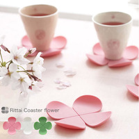 Three-dimensional flower anti-hot silica gel coaster coffee pad four leaf clover slip-resistant pad table mat 15g