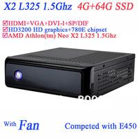 4G RAM 64G SSD mini computer htpc with HD3200 graphic with AMD Athlon tm Neo X2 L325 1.5Ghz 780E secc chassis HDMI DVI-I