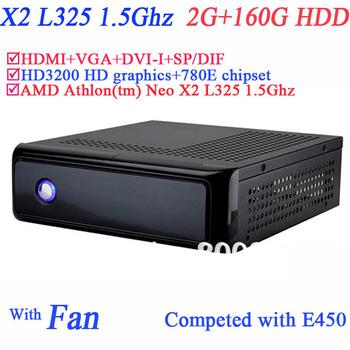2G RAM 160G HDD windows mini pc with secc material HDMI VGA DVI AMD Athlon tm Neo X2 L325 1.5Ghz HD3200 graphic 780E Chipset