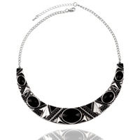 2014 New Fashion Ethnic Vintage Women Silver Plated Black Punk Resins Chunky Chains Statement Necklaces Jewelry