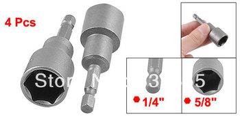 "1/4"" Shank 16mm Hex Socket Spanner Nut Setter Driver Bit Gray 4 Pcs"