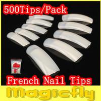 [JZJL-111]500Tips/Pack(Package with bag)  Natural French Nail Tips False Acrylic Nail Art Tips + Free Shipping
