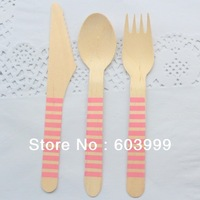 Pick Your colors 1800 x Wooden Party Utensils Stripes Wooden Ice Cream Spoons forks Knives Red pink Blue Green Yellow ,Free Ship
