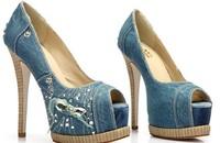 Free shipping 2013 women nice diamond high heels denim pumps laies sexy party shoes