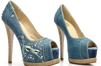 Free shipping 2014 New women nice diamond high heels denim pumps laies sexy party shoes