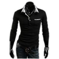 2013 New Casual Men's Stylish Coat Slim Long Sleeve T-Shirt Shirt Fit Checked Free Shipping