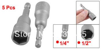 "1/4"" Shank 13mm Hex Socket Nut Setter Spanner Driver Bits Gray 5 Pcs"
