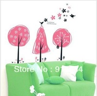 Free shipping parlour bedroom decoration Sofa TV background can remove wall sticker children's room Pink Tree 60*90cm