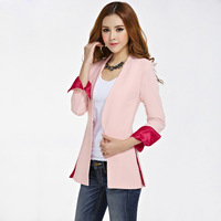 Plus Size 2013 Spring Slim Blazer Jackets Women's Ol Lady's Medium-Long Work Wear Pink Casual Suit Outerwear Free Shipping
