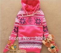 Fashionable Snowflake Heart Printed Warm Fleece Hoodie Coat Pink/Rose WH11082805-2/WH11082805-4