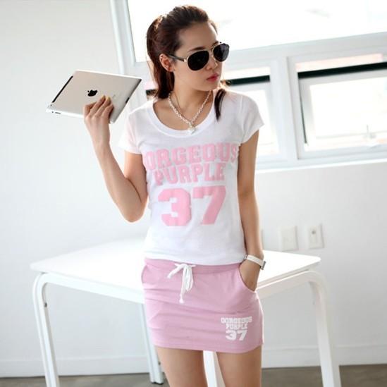 Summer new arrival women print t-shirt short skirt sweet gentlewomen slim sexy casual sports set