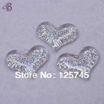 Free shipping!Silver 30*37mm Glitter Acrylic Heart Pendant 50pcs/Lot Chunky Neckacle Penant