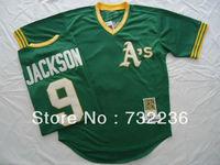 2013 new Oakland Athletics jersey #9 Reggie Jackson 1974 Throwback Men's Baseball Jersey Size:48-56, can mix order