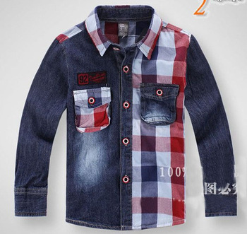 hot sale wholesale 5pcs/lot  2013 Luxury Casual Shirts New childrens boys long sleeve Shirts sport Shirts