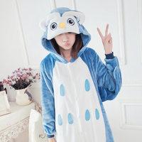 K2 Flannel owl animal owl onesie autumn and winter coral fleece long-sleeve female Pajama