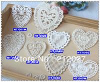 Wholesale Free Shipping Cloth Paste Fabric Paste, DIY Lace Decoration, Heart design Appliques 100pcs/lot Mix design acceptable