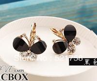 Wholesale 100pcs/lot Alloy crystal Butterfly earrings green/blue/brown/black butterfly earring Promotion $0.43/pc +Free Shipping