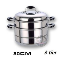 Thickening stainless steel steamer double layer steamer soup pot multi-layer cooker 30cm steamer cooking pot