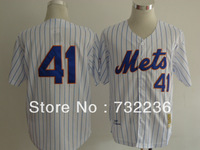 Cheap New York Mets jersey #41 Tom Seaver Throwback men's Baseball Jersey, Size:M-3XL, can mix order