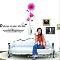 Free shipping parlour bedroom decoration Sofa TV background can remove Wall sticker  Vase