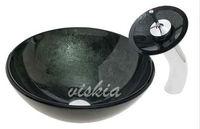 Glass Basin & Brass Water Faucet Set Hand Vessel Popular Mazarine color Bathroom Sink  VK5020