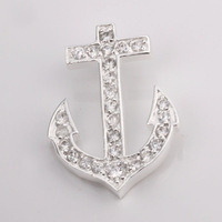 925S-P007 Free Shipping Silver Accessories Jewelry Heart Anchor Moon Rhinestone Charms Pendant  Mix Order Accept