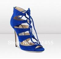 Elegant blue suede high heels sandals sexy hollow open toe sandals shoes women