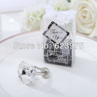 Heart Shaped Crystal Ring Keyring&Key Chain Wedding Party Gift Favors (Set of 12 Boxes)
