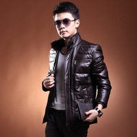 Male leather jacket outerwear mink stand collar sheepskin genuine leather clothing male genuine leather down coat