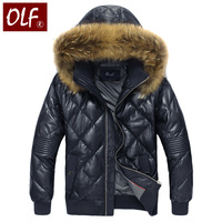Genuine leather clothing men's genuine leather down coat with a hood down genuine leather jacket sheepskin super large raccoon