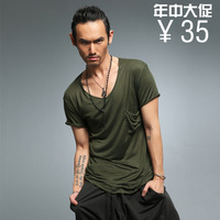 2013 fashion mercerized cotton unique small pocket jixin ling male short-sleeve T-shirt t830