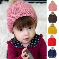 2014 NEW Winter warm crochet knitting baby hat pom pom children kids Knitted hats kids skull beanie cap