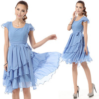 Free shipping 2013 new fashion summer Korean style chiffon short O-Neck solid color cute women dress 8035 has side zipper