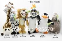 Fee Shipping Promotion Madagascar plush toys,dolls giraffe, hippo, lions, penguins, zebra, lemurs, 6 PCS/lot