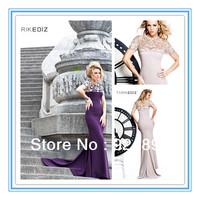 Short Sleeve Purple Beads High Neck Vintage Evening Dress(EVTA-1006)