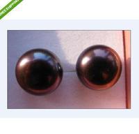 AAA 12-13mm south sea black  color pearl earrings 14KG