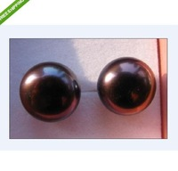 AAA 12-13mm south sea black  color pearl earrings 14KG