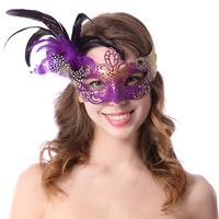 Princess feather masquerade masks ball colored drawing half face mask Women