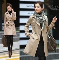 Trench female 2014 spring women's outerwear medium-long slim overcoat women's trench outerwear